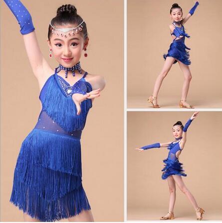 New 2017 Sexy Cheap Latin Dance Dress Kids Children Girls Fringe Competition Latin Skirt Samba Dance Latin Salsa Dresses