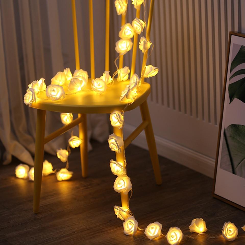 Xsky Rose Flower LED String Fairy Lights Makeup Mirror Vanity Light Bulbs For Dressing Wedding Xmas Party Holiday Decor Lighting