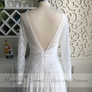 Image 3 - Mryarce 2019 Boho Chic Exclusive Lace Rustic Wedding Dress Illusion Long Sleeves Open Back Bridal Gowns