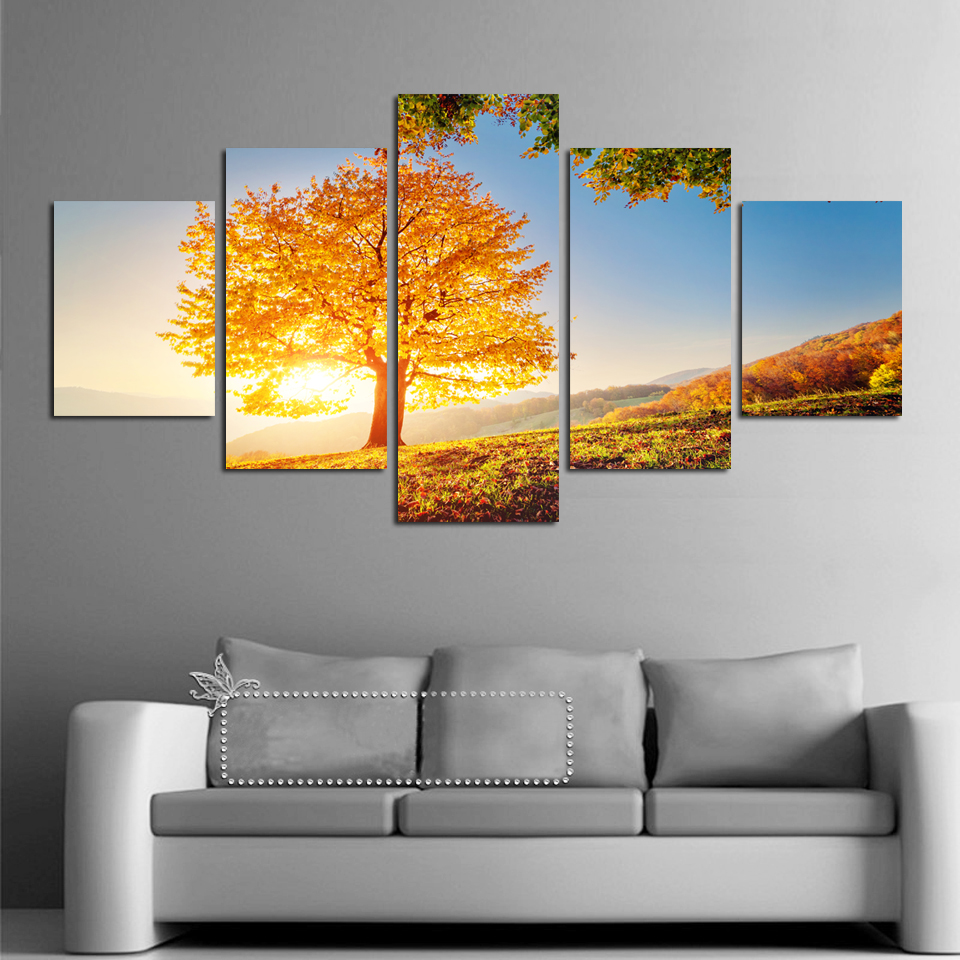 5 Pcs Gold Montreal Tree Scenery Numbers Painting Picture