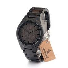 BOBO OISEAU Hommes de Bois De Santal Montre Cadran Noir Montre À Quartz Véritable Bracelet En Cuir Disponible homme montres 2016 marque de luxe