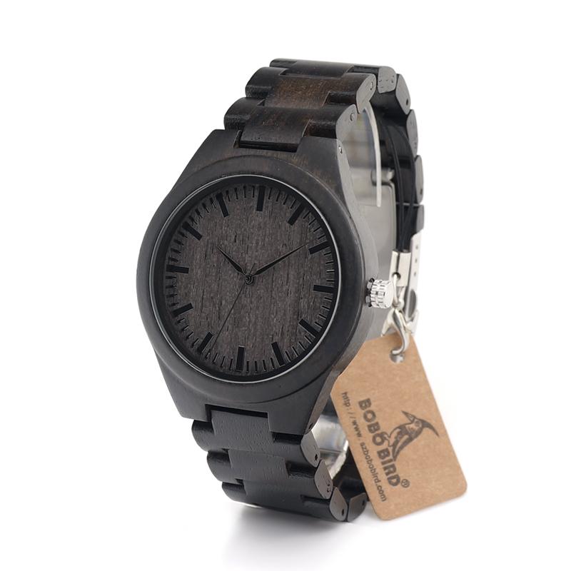 Prix pour BOBO OISEAU Hommes de Bois De Santal Montre Cadran Noir Montre À Quartz Véritable Bracelet En Cuir Disponible homme montres 2016 marque de luxe