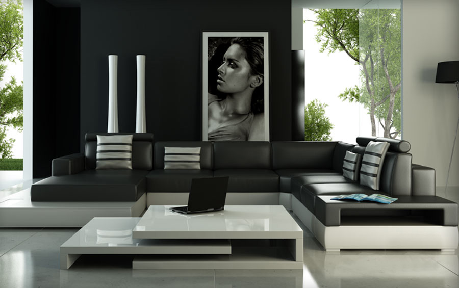 Sectional Sofa With White U0026 Black Color