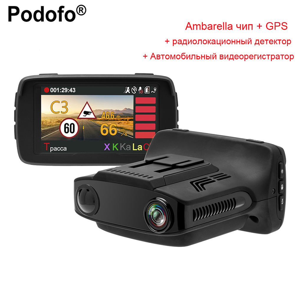 Podofo Ambarella Car DVR Radar Detector 3 in 1 with GPS Car Camera FHD 1080P Dash Cam X/K/Ka/La/CT Dashcam Anti Radar Detectors