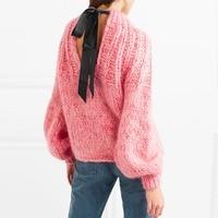 2018 осень зима ручной вязки розовый свитер женщин спинки бантом джемпер с рукавами фонариками пуловер