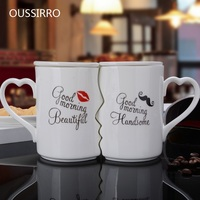 OUSSIRRO 2Pcs/Set Creative Ceramic Couple Cup Kiss Mug Valentine's Day Wedding Birthday Gift L2105 With Lid