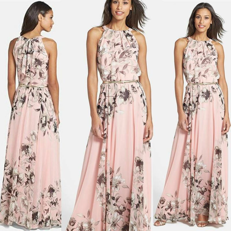 HTB1EGpwSNTpK1RjSZFKq6y2wXXaO Hirigin 2019 Summer New Style Fashion Women Sleeveless Chiffon Casual Beach Long Floral Dress Party Dress