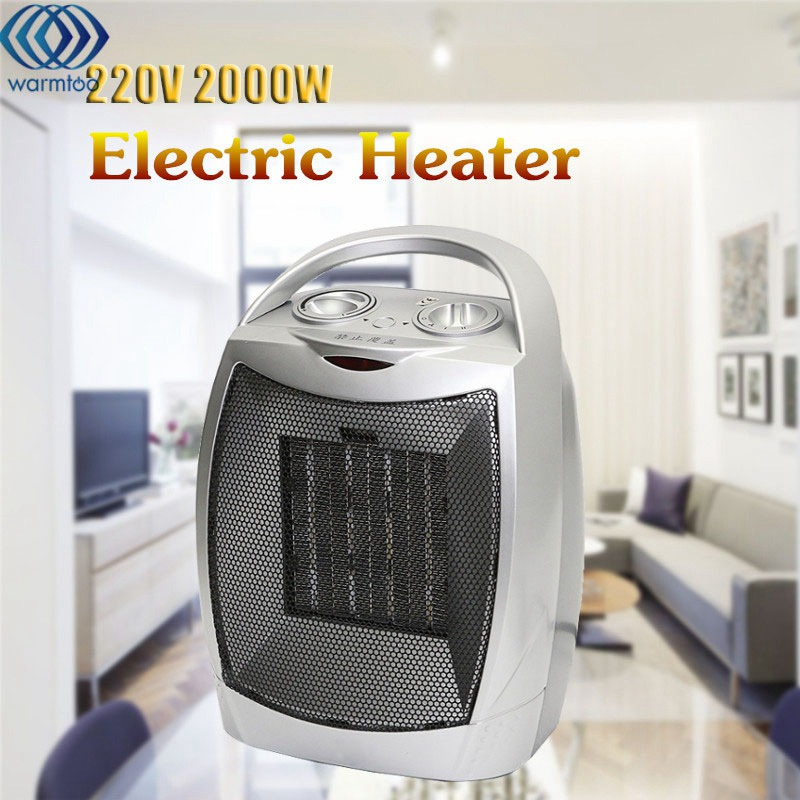 220V 2000W Electric Heater Warm Air Fan Adjustable Desktop Wall Handy Heater Stove Warmer Machine for Winter Home Office