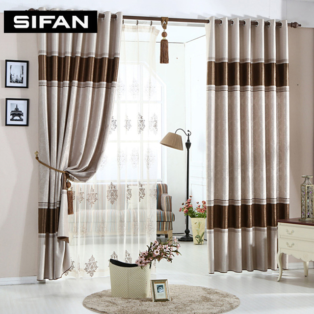 European Stripe Cation Embossing Blackout Curtains For The Bedroom Window Living Room Blinds D