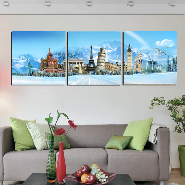 Modern Home Decor Canvas Wall Art Pictures Popular World Building City Landscape Printed Oil Painting For