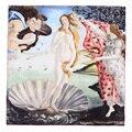 100% Cuadrado 90x90 cm pintura al óleo del patrón de Las Mujeres de Seda Scarve Bufanda pañuelo De Moda de Lujo Mujer Marca Bufandas Chal alta Calidad