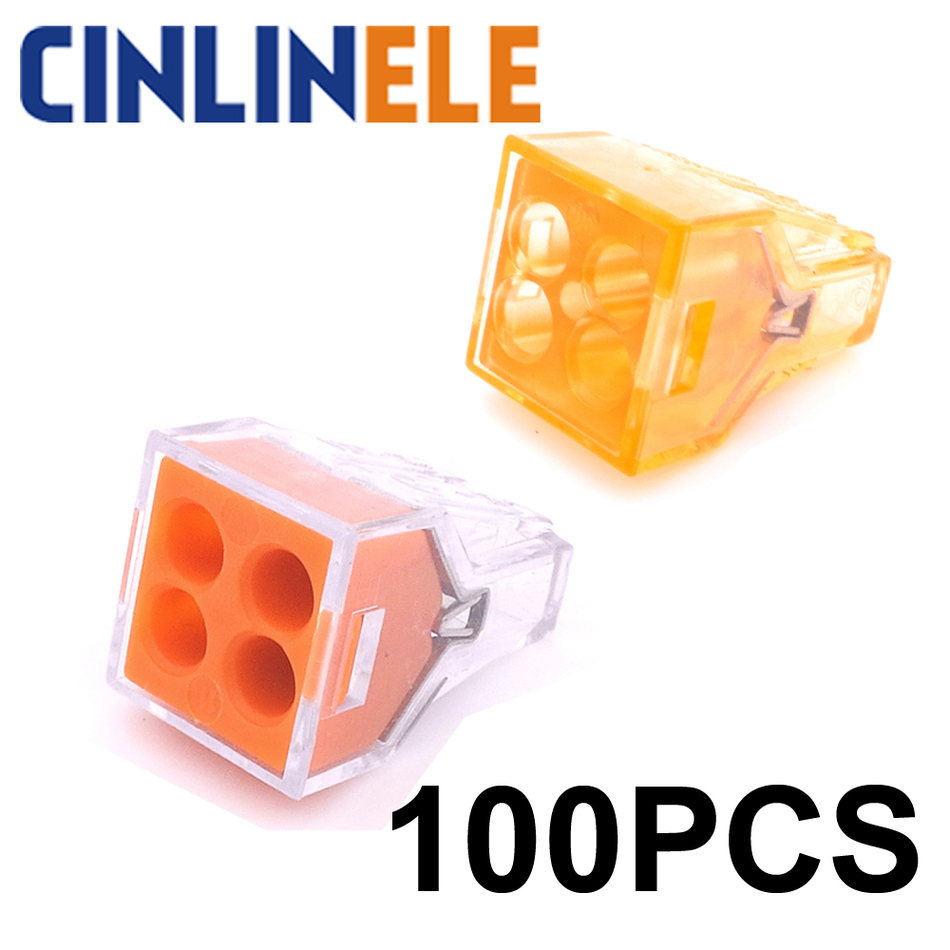 100PCS wago 773-104 Push wire wiring connector For Junction 4 pin conductor terminal block free shipping 20 50 100pcs pack wago push wire wiring connector for junction box 4 pin conductor terminal block awg 18 12