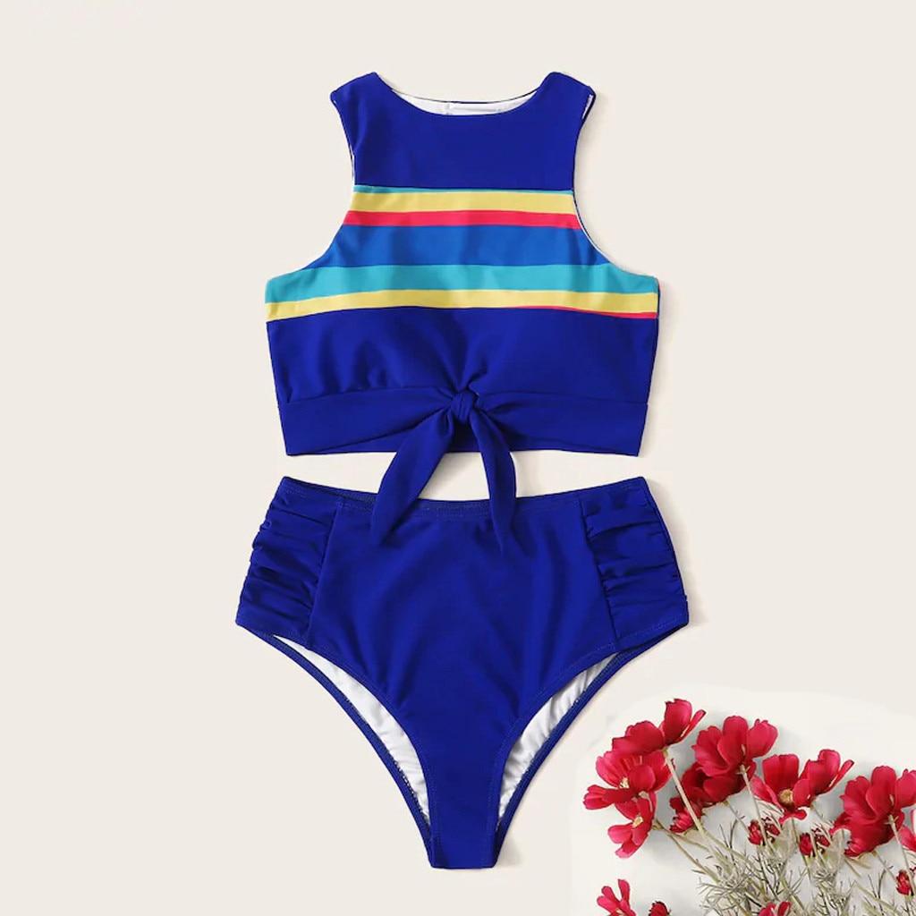 Women's Bikini Set Two Pieces Knot Bow Front Crop Top Swimsuit Solid Bottom Summer Beach Stripe Print Blue High Waist Beachwear