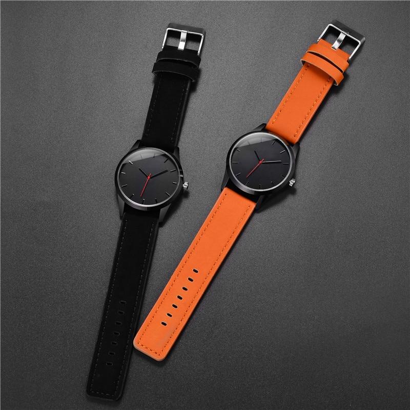 Simpel en strak Quartz herenhorloge in zwart en bruin - GRATIS verzending! | DealQlub.com