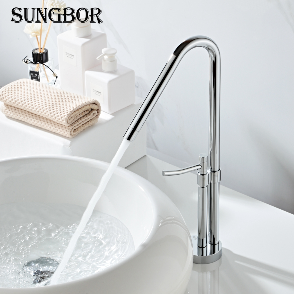 Tall Square Brass Chrome Bathroom Faucet Lavatory Sink Bar Basin faucet Mixer Tap Extra Long Spout