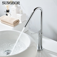 Tall Square Brass Chrome Bathroom Faucet Lavatory Sink Bar Basin faucet Mixer Tap Extra Long Spout Cold Hot Water tap LT-801A все цены