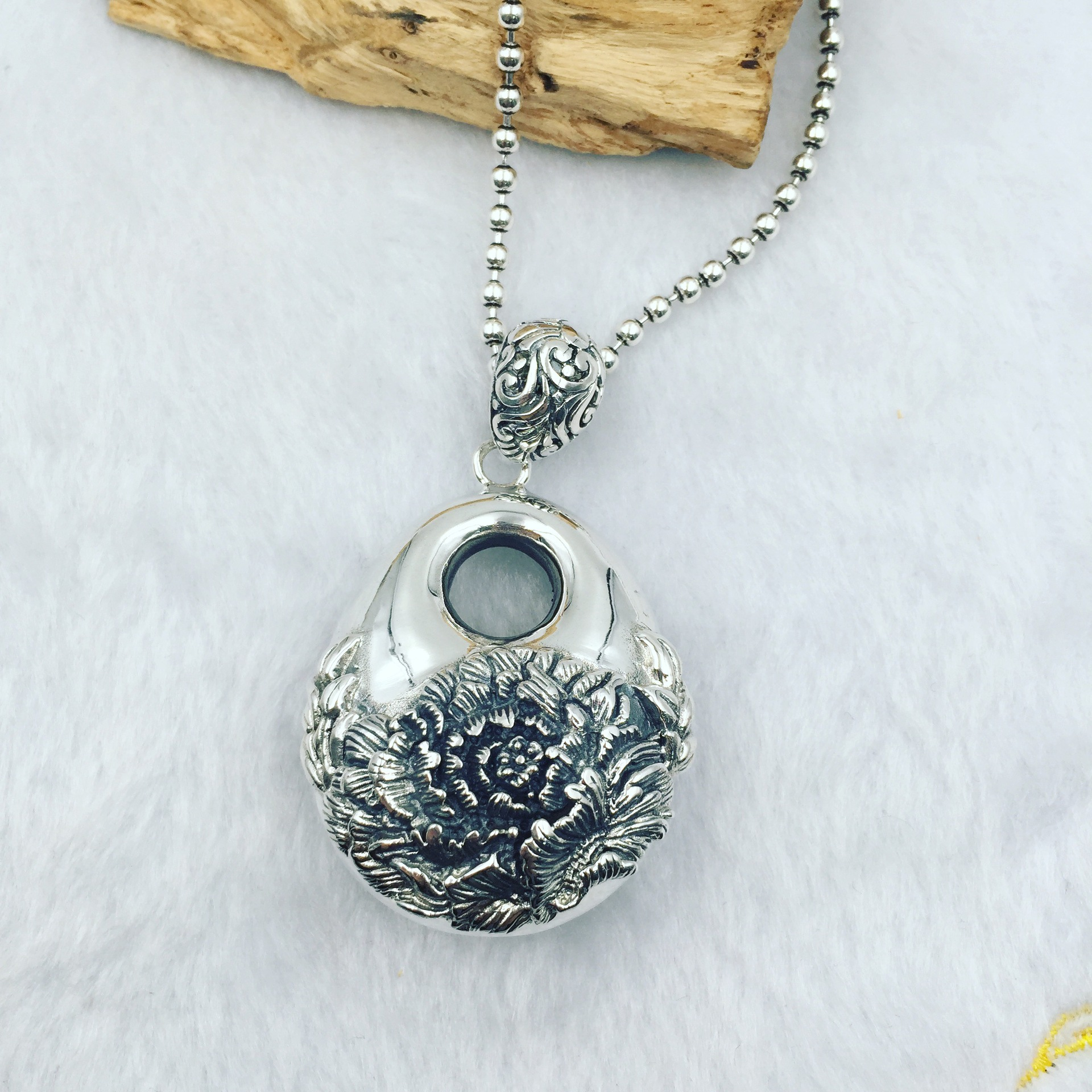 Large Pendant 925 Sterling Silver Peony Beauty Silver PendantLarge Pendant 925 Sterling Silver Peony Beauty Silver Pendant