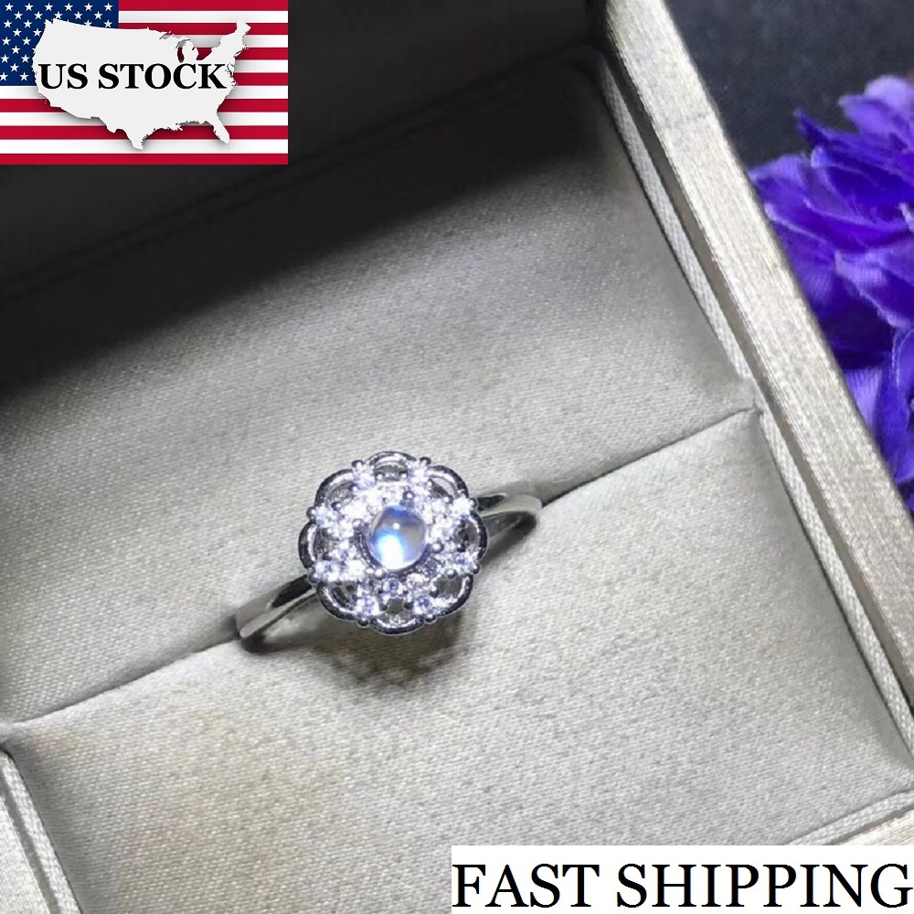 USA STOCK Uloveido Simple and Refined Natural Blue Moonstone Ring 925 Silver 4 4mm Gemstone Birthstone