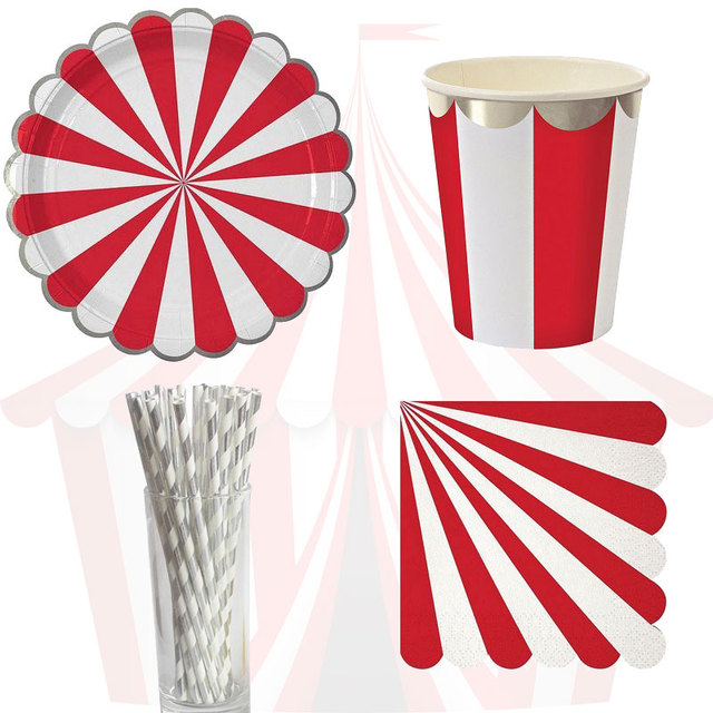 61pcs Circus Theme Paper Disposable Tableware Red Striped Plates Cups Wedding Supplies Foild Bronzing Birthday Party  sc 1 st  AliExpress.com & 61pcs Circus Theme Paper Disposable Tableware Red Striped Plates ...