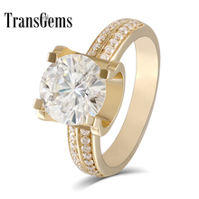 Transgems  2ct Carat Lab Grown Moissanite Wedding Engagement Rings Solid 18K Yellow Gold Diamonds Accents Woman Band
