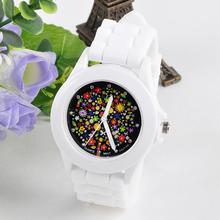 Мода силиконовой резины часы желе гель Красочные цветы циферблат Кварцевые часы спортивные Для женщин наручные Часы белый Творческий jun22