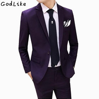 (Blazer+Pants) Classic Men Suit Slim Fit Pure Wedding Groom Wear Men Suit Black Gentlemen Costume Mariage Homme 4XL 5XL