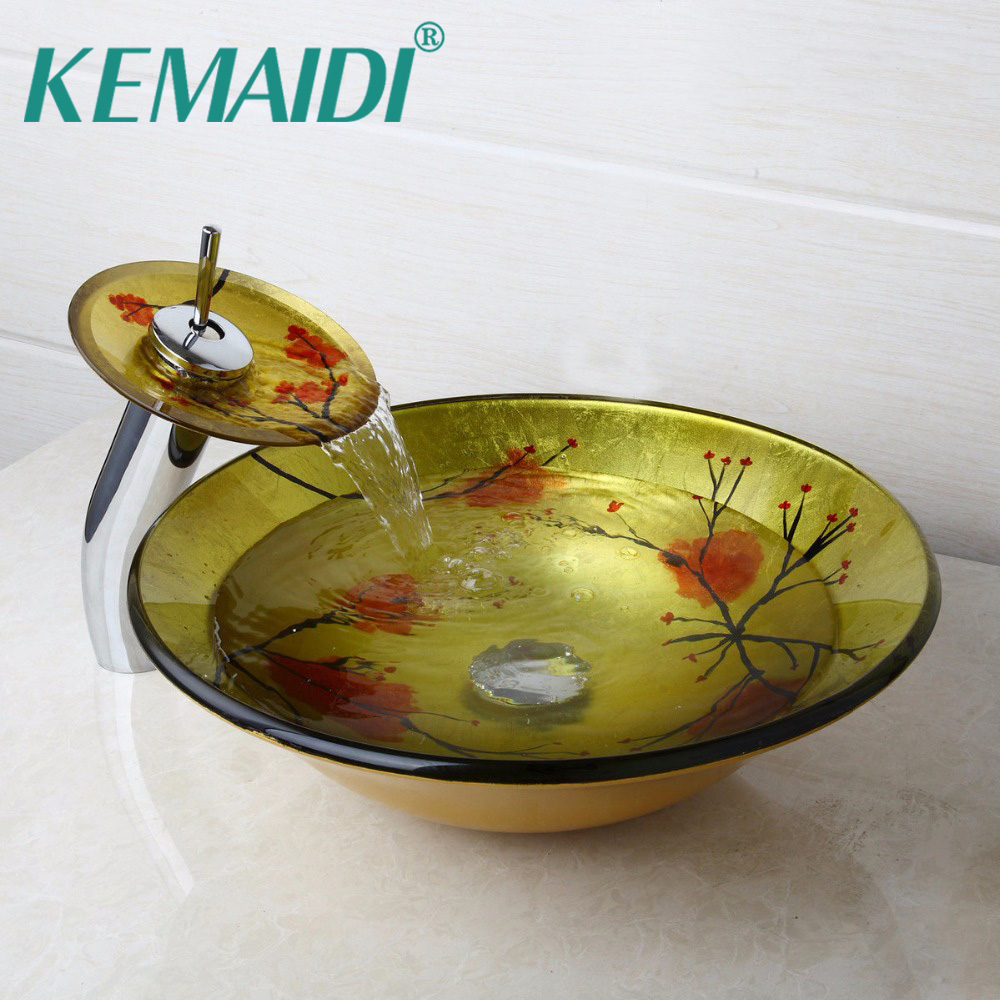 KEMAIDI Plum blossom Tempered Glass Basin Sink Washbasin Faucet Set Counter top Washroom Vessel Vanity Sink Bathroom Mixer