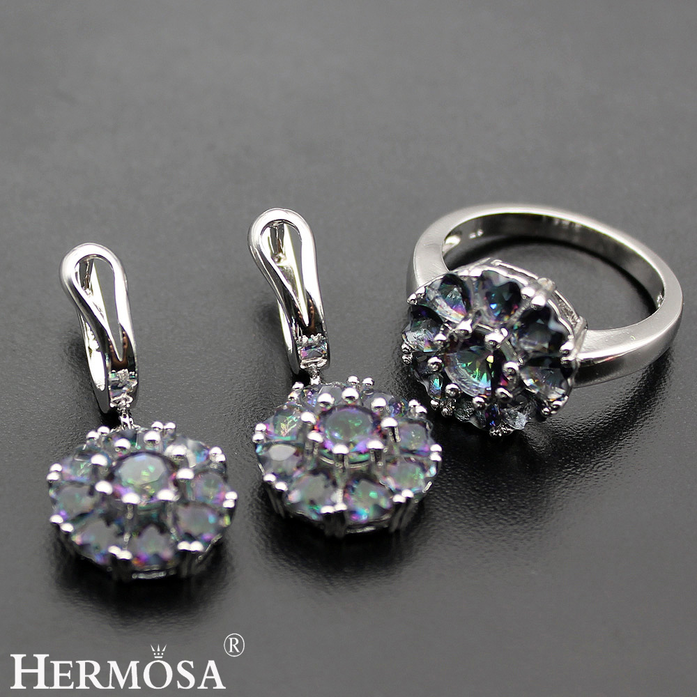 Hermosa Jewelry Advanced Fashion Set Mystic Fire 925 Sterling Silver Women Ring+ Earrings 7.5# BK058