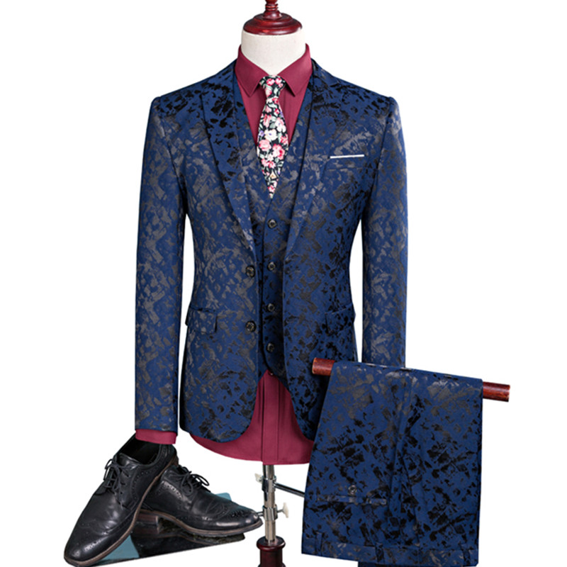 New men leisure single-breasted suits 3 pieces sets / Man's pure color business suit jacket blazers coat + vest +pants