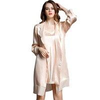 Брендовые сексуальные женские шелковая ночная рубашка халаты наборы из двух частей 100% шелковое спальное платье с длинными рукавами халат