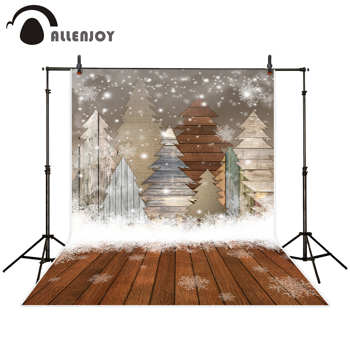 Allenjoy background for photo studio Christmas wood bokeh tree snow kids backdrop printed photographic photobooth photocall
