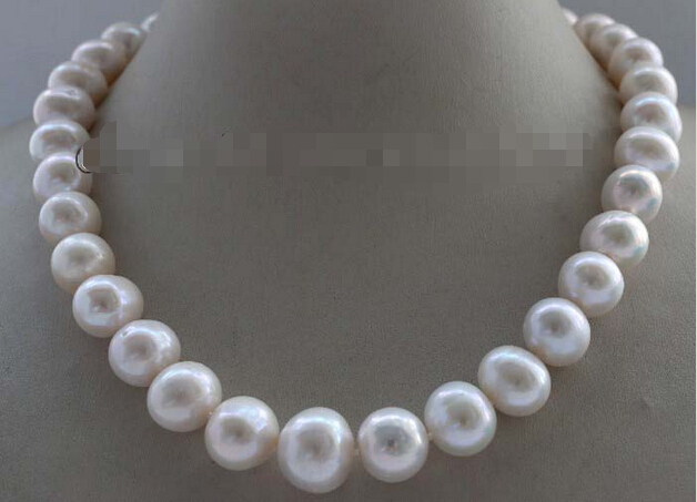 Genuine Natural 13 mm White Round Pearl necklace #f2420! NEWGenuine Natural 13 mm White Round Pearl necklace #f2420! NEW