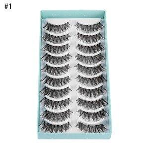 Image 5 - 10 Pairs Yeni Yanlış Eyelashes El Yapımı Siyah Uzun Kalın Doğal Sahte Göz Lashes Uzatma Kadınlar Makyaj Güzellik Araçları