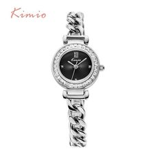 KIMIO Exquisite Zircon Small Dial Hand Chain Bracelet Watch Strap Rose Gold Quartz Watch Women Clock Womens Watches Top Brand(China)