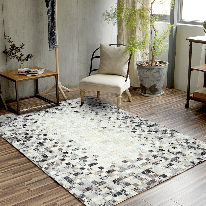 European Style Simple Style Carpets Living Room Bedroom Tea Table Rugs Cowhide Manual Stitching Carpet Luxurious Large Rug XW01