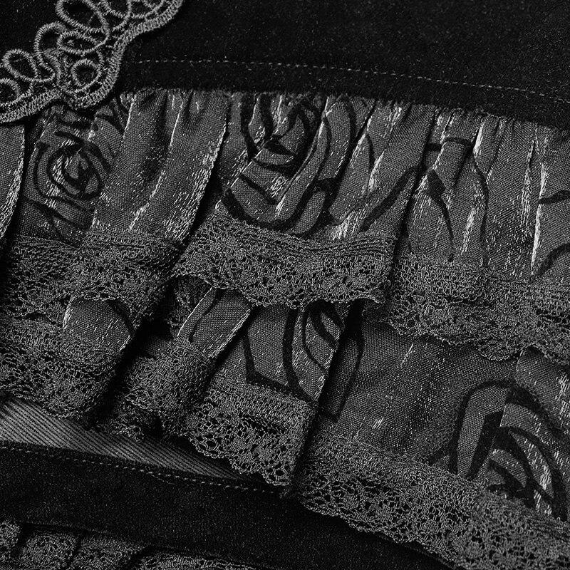 Punk Rave Gothic Fashion Novelty Swallow Tail Lacing Lace Victorian Sexy Palace Women Shorts Skirt Visual Kei WK354 - 6