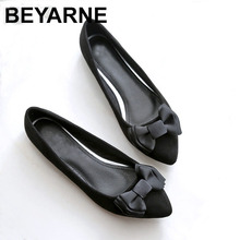 BEYARNE Spring autumn new sweet Woman fashion shoes casual comfortable large size butterfly knot flat shoes women work shoes