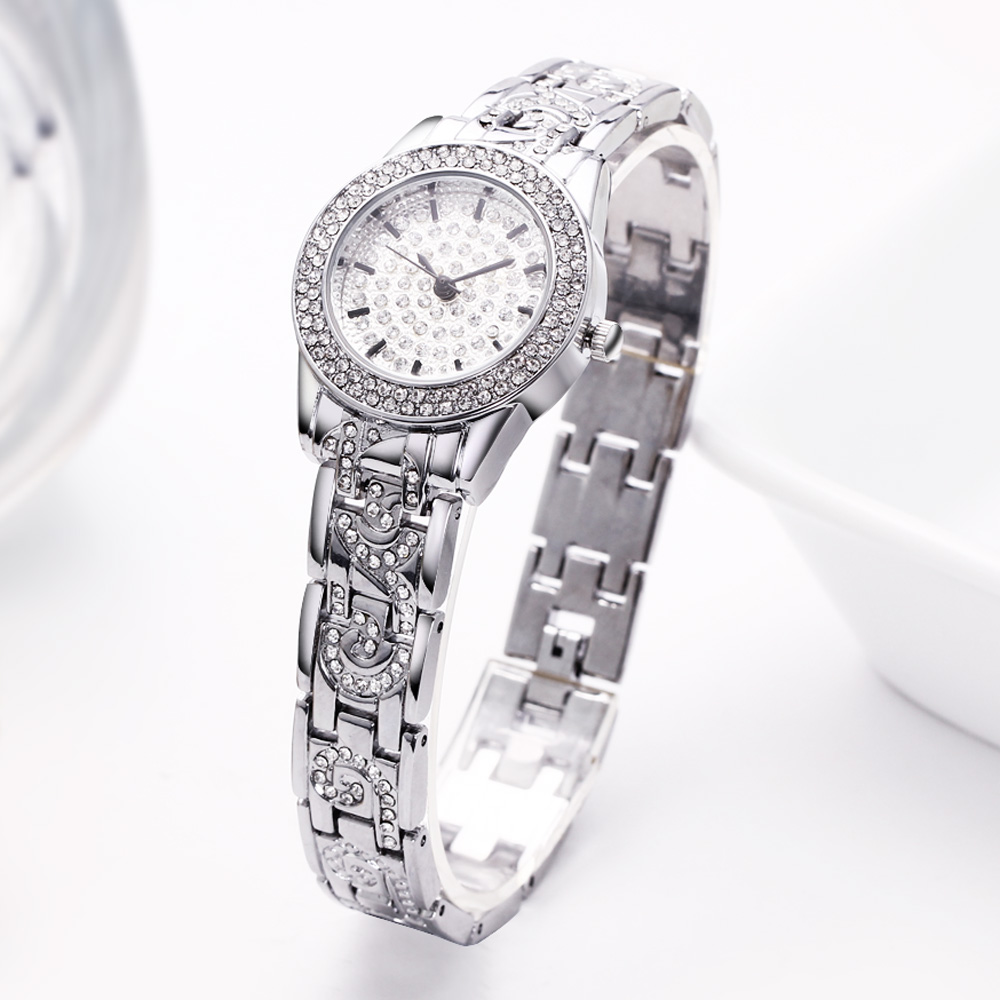Full Crystals Elegant Ladies Watch Luxury Wrist Bracelet Watches for Women Stones Dial Roman Index Christmas Gift free shipping 2