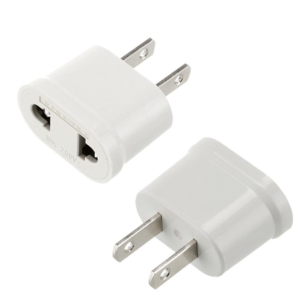 10 pcs American US to European EU Adapter Power Jack Wall Plug Outlet Converter