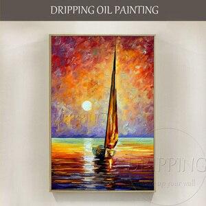 Ручная роспись, высокое качество, богатые цвета, Современная Настенная живопись, текстурированный пейзаж, картина маслом на холсте, нож, тек...