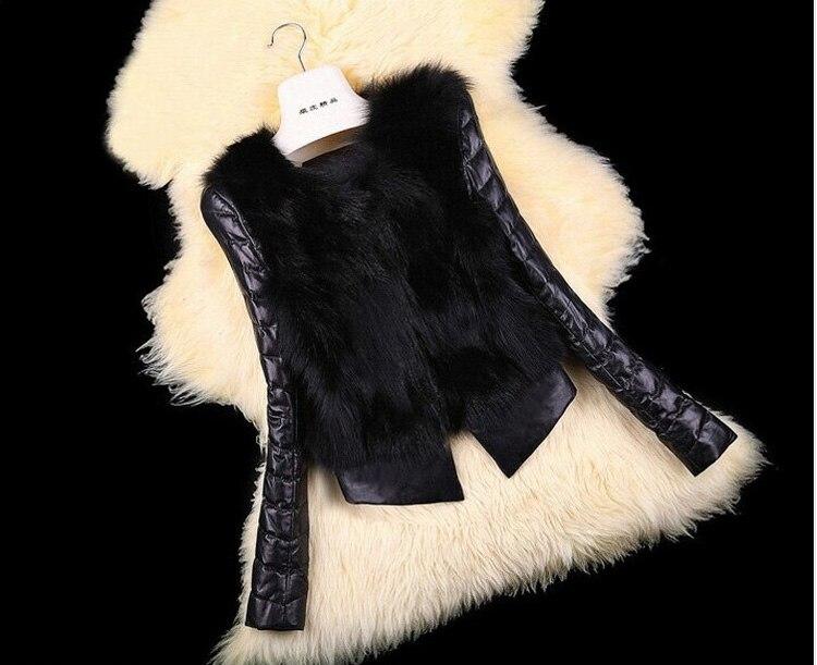 S/3Xl Womens Korean Plus Size Patchwork Pu Leather Faux Fur Jacket Blackshort Section Ladies Winter Autumn Fur Coats Tops J1396