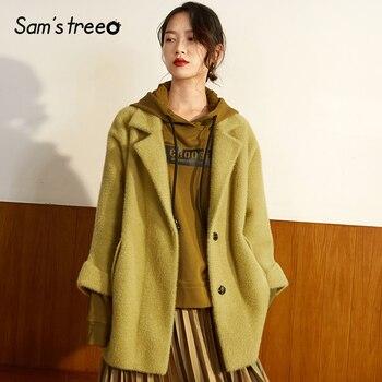 Samstree Yellow Solid Minimalist Style Women Coats 2019 Winter Single Button Pure Korea Loose Casual Female Blends Coats