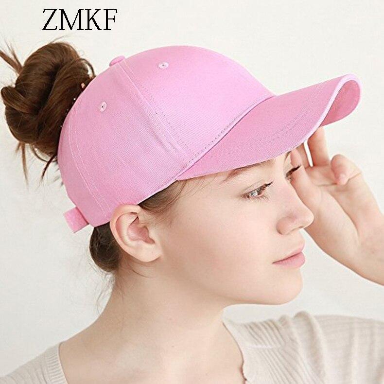 2018 ZMKF nieuwe vrouwen effen kleur paardenstaart baseball cap zomer - Kledingaccessoires - Foto 4
