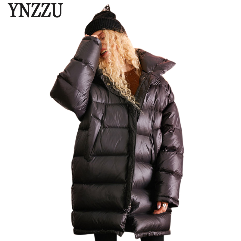 YNZZU European Style 2018 Winter 90% White Duck   Down   Jacket Women Loose Letter Stand Collar Warm Chic   Down     Coat   Outwears AO684