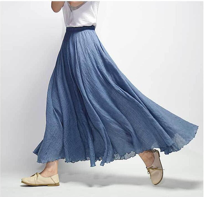 2018 Women Linen Cotton Long Skirts Elastic Waist 2 Layers Skirts Saia Feminina 18 Colors Faldas Saia Beach Boho Summer Skirts