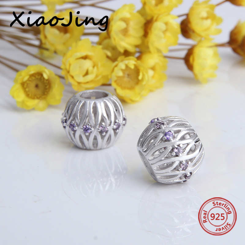 100% 925 sterling silver girl beads diy round shape charms with purple CZ fit original pandora charm bracelets fashion jewelry