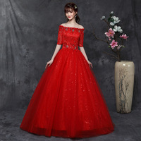 Bridal Dresses 2019 Wedding Gown Ball Gown Vintage Deco Beaded Lace Shiny Tulle Off the Shoulder Half Sleeve Floor Length Red