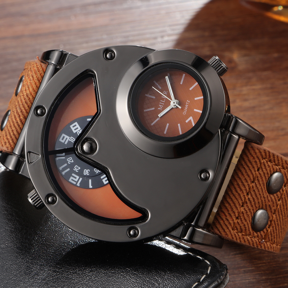 Unique Big Dial Men Watch Analog Quartz Wristwatch Mens Leather Sport Military Wrist Watches Cool Full Black Relogio Masculino