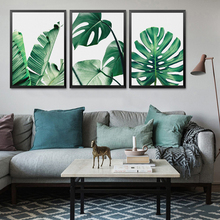 Green Leaf Plants Pictures Home Art Print, Botanic Canvas Wall Picture Print Poster For Decor
