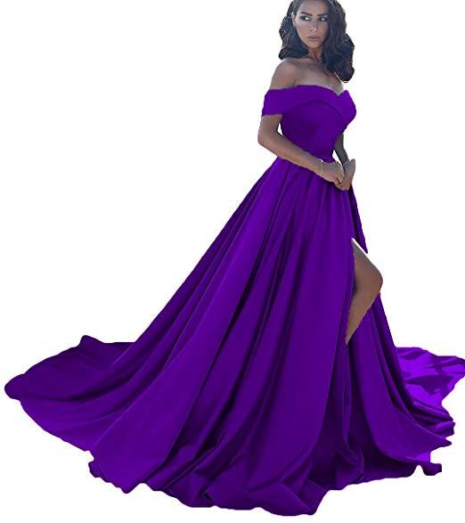 Vestido longo, сексуальные вечерние платья с разрезом, с открытыми плечами, платье для выпускного вечера,, официальное вечернее платье, Vestido De Noiva - Цвет: Purple